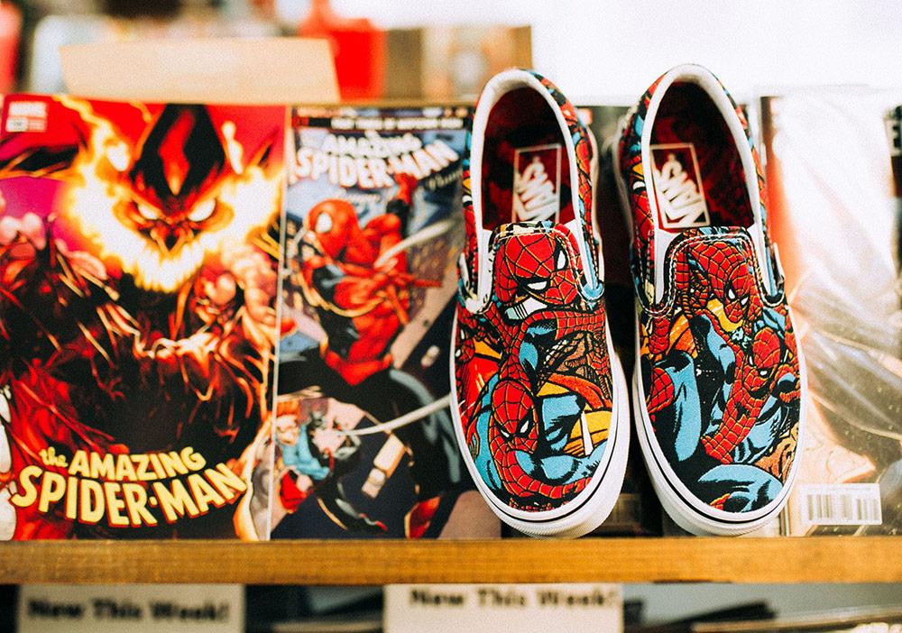 Vans x Marvel — Spiderman — Vans Slip-On — boty — tenisky — pánské, dámské — sneakers