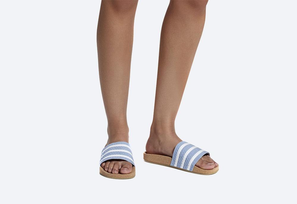 adidas Originals Adilette Cork — dámské pantofle — korkové — letní nazouváky — modré, pastelové — womens cork pastel blue slides