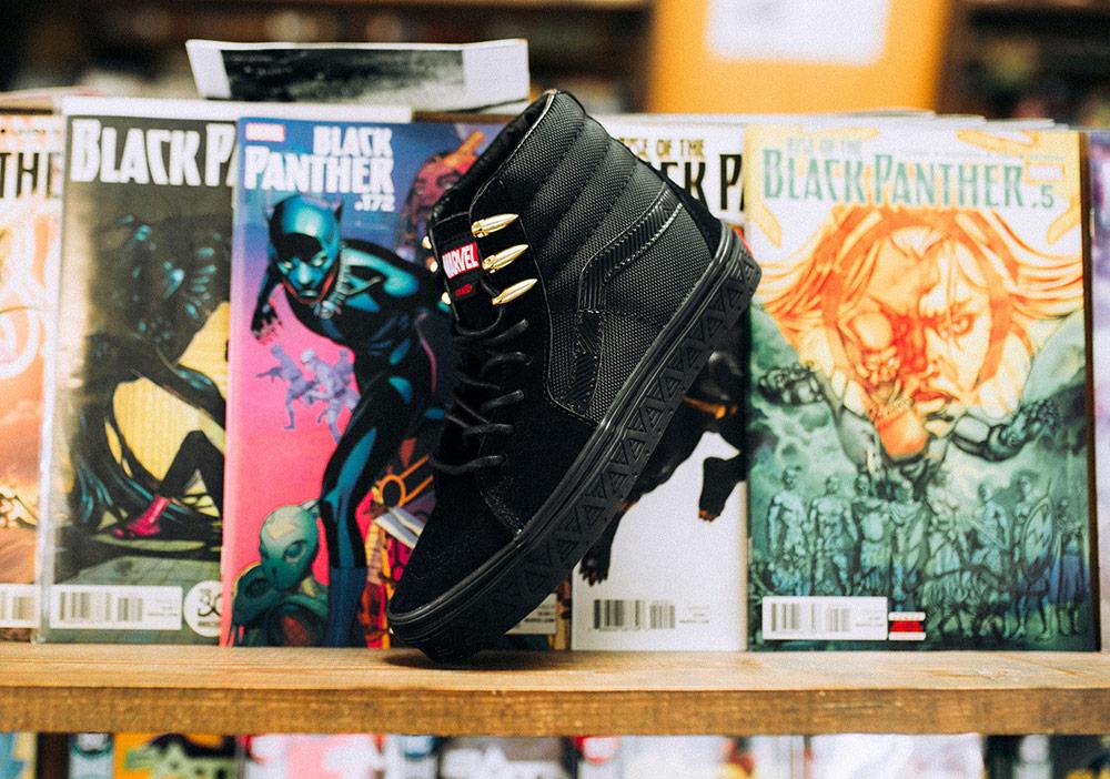 Vans x Marvel — Black Panther — Sk8-Hi — černé boty — kotníkové tenisky — pánské, dámské — sneakers