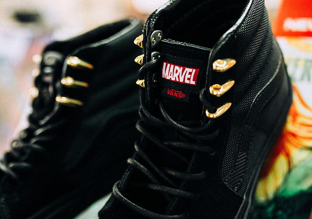 Vans x Marvel — Black Panther — Sk8-Hi — kotníkové boty — černé tenisky — pánské, dámské — sneakers
