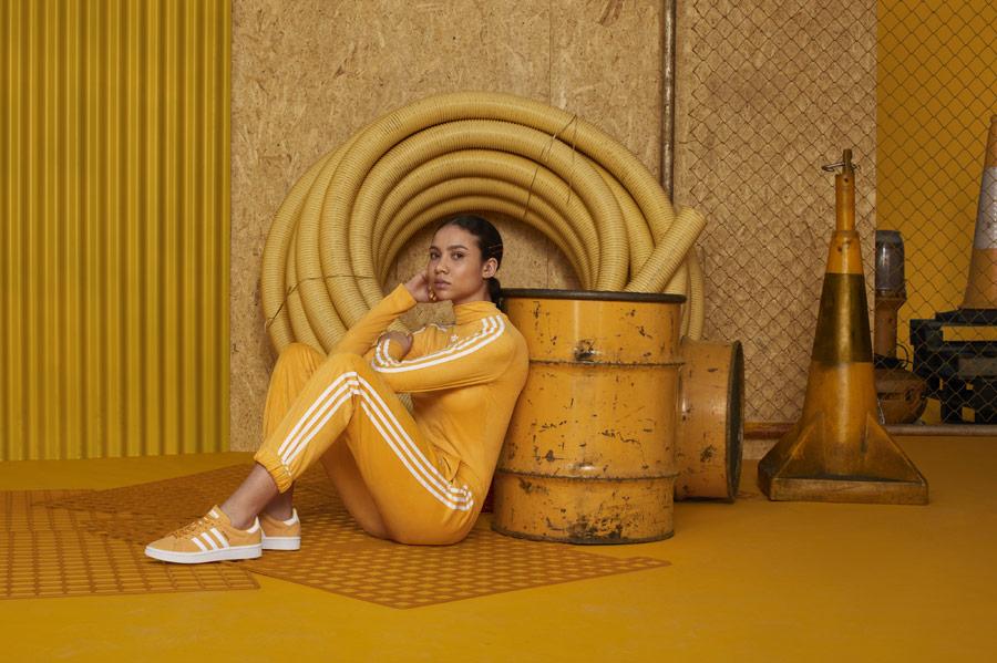 adidas Originals adicolor — dámské žluté tepláky — dámská žlutá tepláková bunda — žluté tenisky Campus — sportovní oblečení — podzim/zima 2018 — sportswear