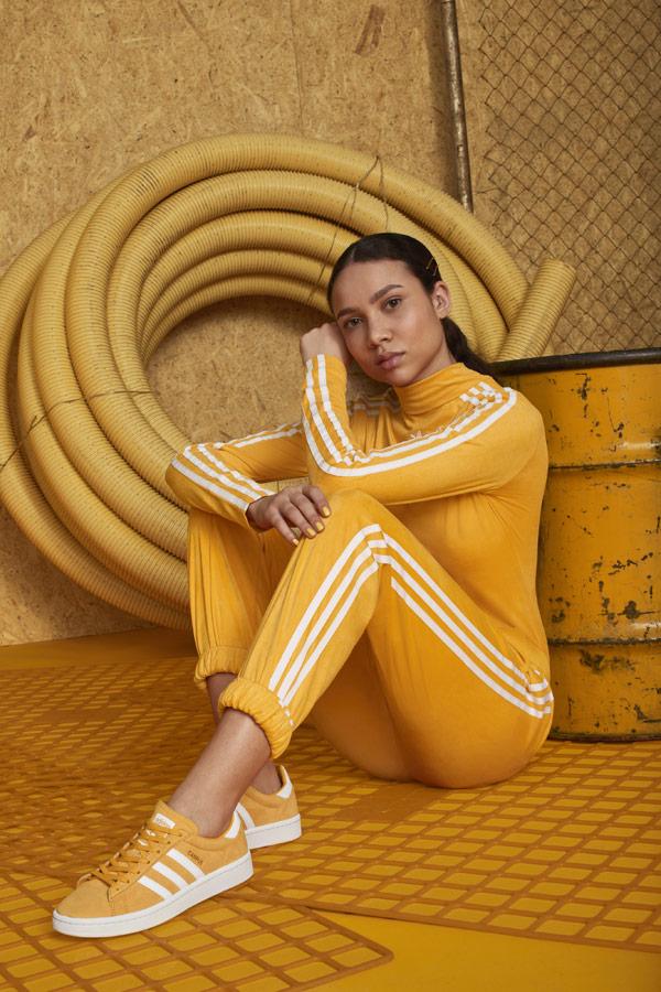 adidas Originals adicolor — žluté tenisky Campus — dámské žluté tepláky — dámská žlutá tepláková bunda — sportovní oblečení — podzim/zima 2018 — sportswear