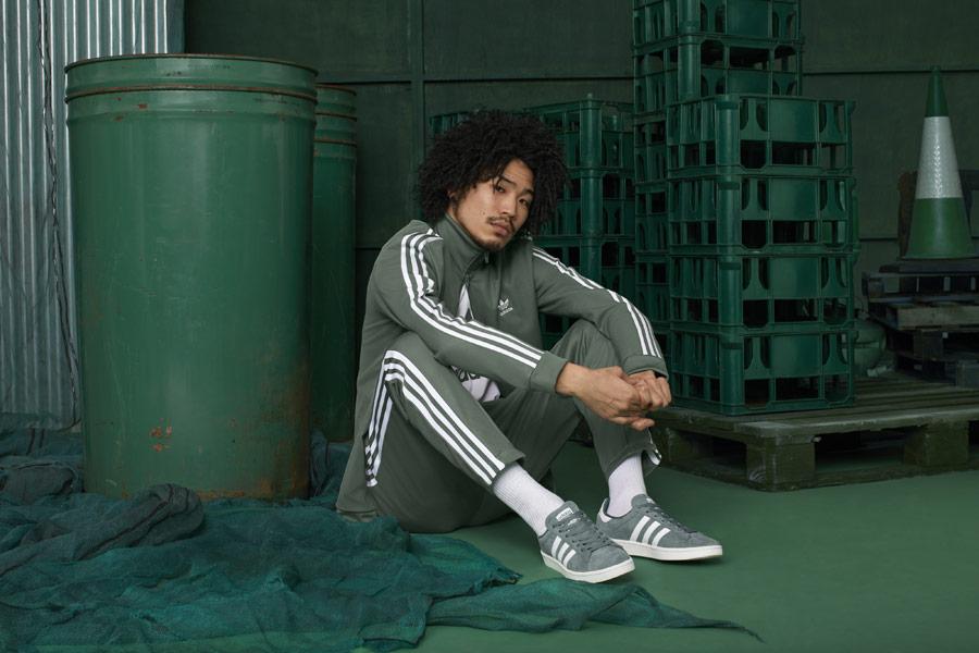 adidas Originals adicolor — zelené tenisky Campus — pánská tepláková bunda na zip se stojáčkem — pánské zelené tepláky — sportovní oblečení — podzim/zima 2018 — sportswear