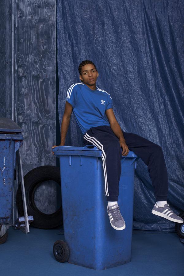 adidas Originals adicolor — pánské modré tričko — modré tepláky — modré tenisky Campus — sportovní oblečení — podzim/zima 2018 — sportswear