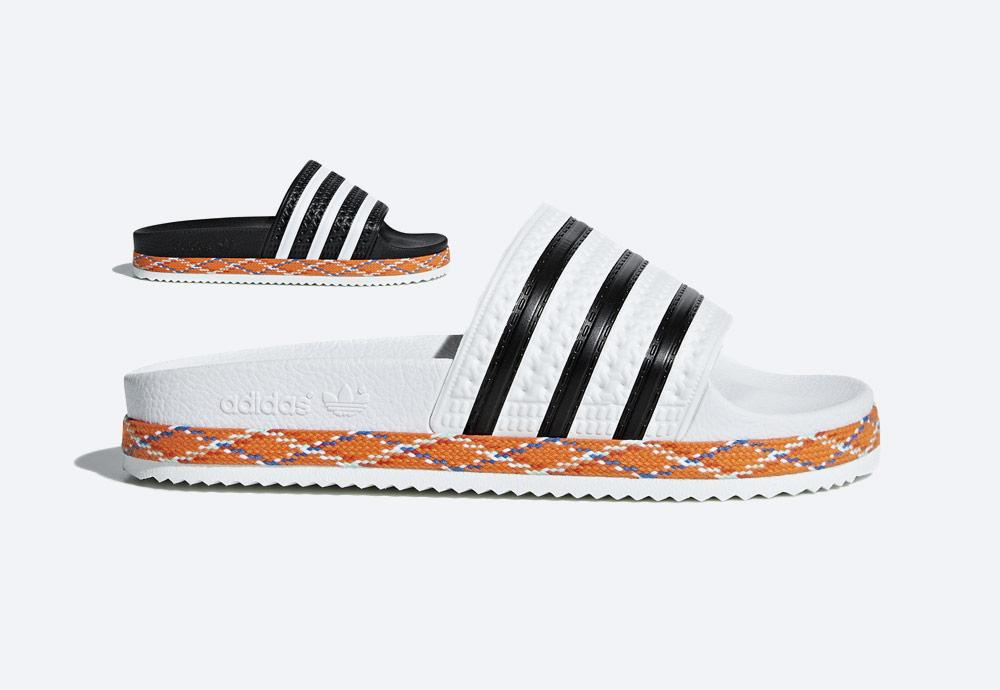 adidas Originals Adilette Bold — pantofle na platformě — dámské nazouváky — černé, bílé, zdobené — womens black, white platform slides