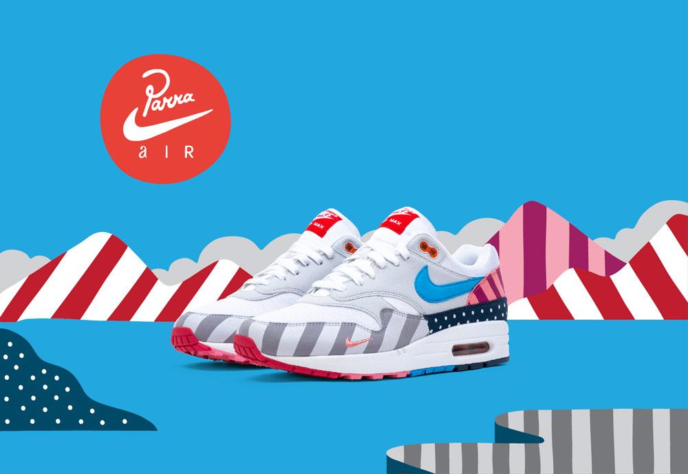 Nike Air Max 1 Parra — boty — barevné tenisky se vzory — sneakers — dámské, pánské