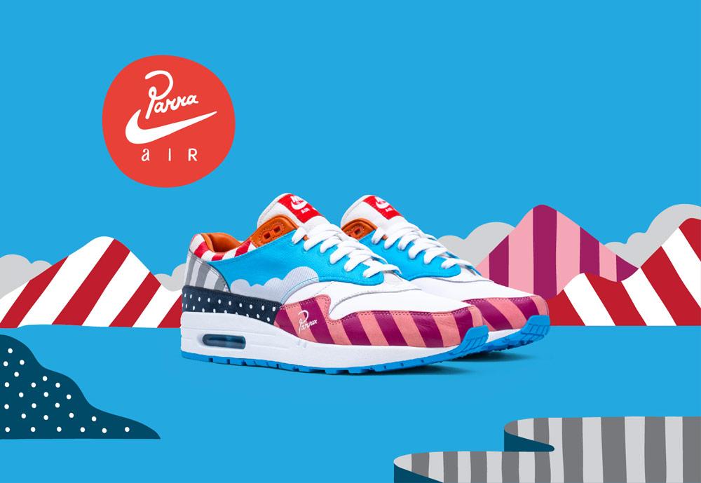 Nike Air Max 1 Parra — boty — barevné tenisky se vzory — sneakers — pánské, dámské