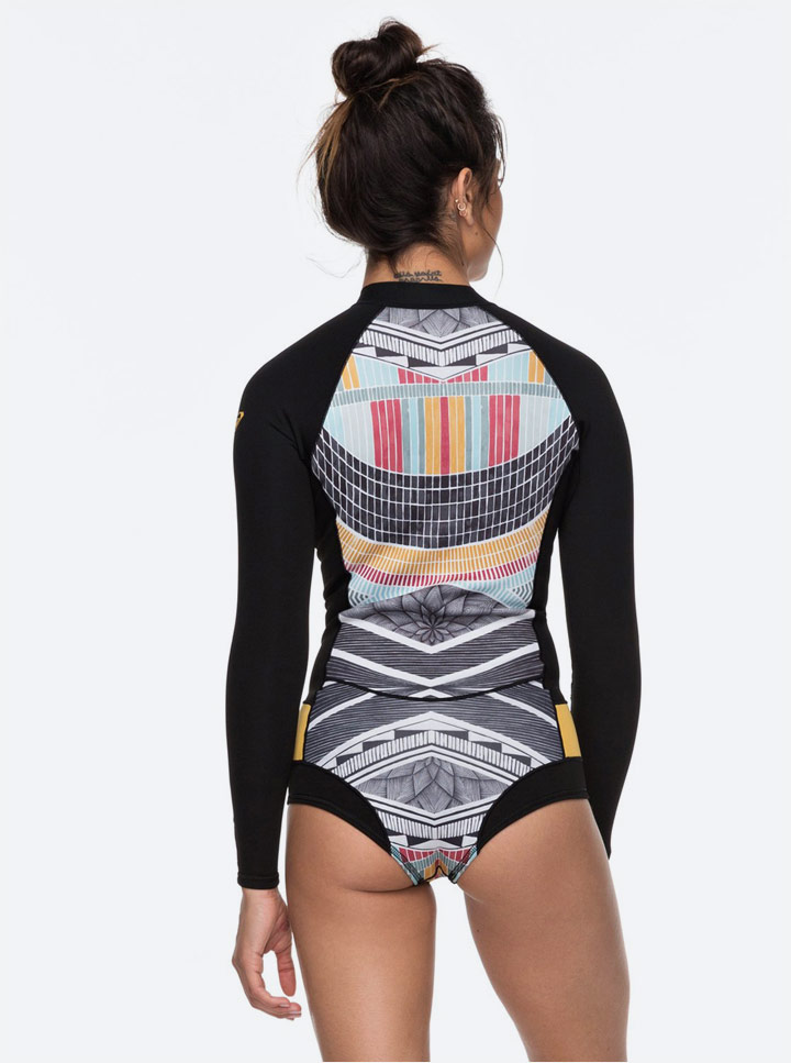 Roxy Pop Surf — neoprenové surfařské body s dlouhými rukávy — dámské — swimsuit — černé s barevným vzorem léto 2018