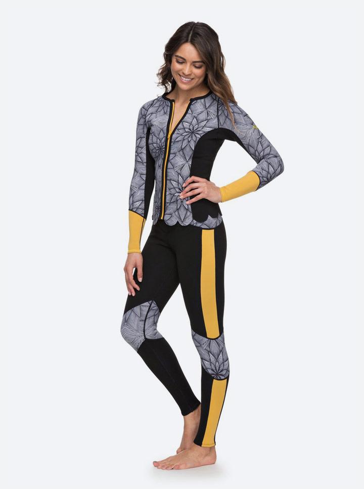 Roxy Pop Surf — neoprenové legíny, žluto-černé se vzorem — dámské — surfařské — žluto-černá neoprenová bunda na zip se vzorem léto 2018