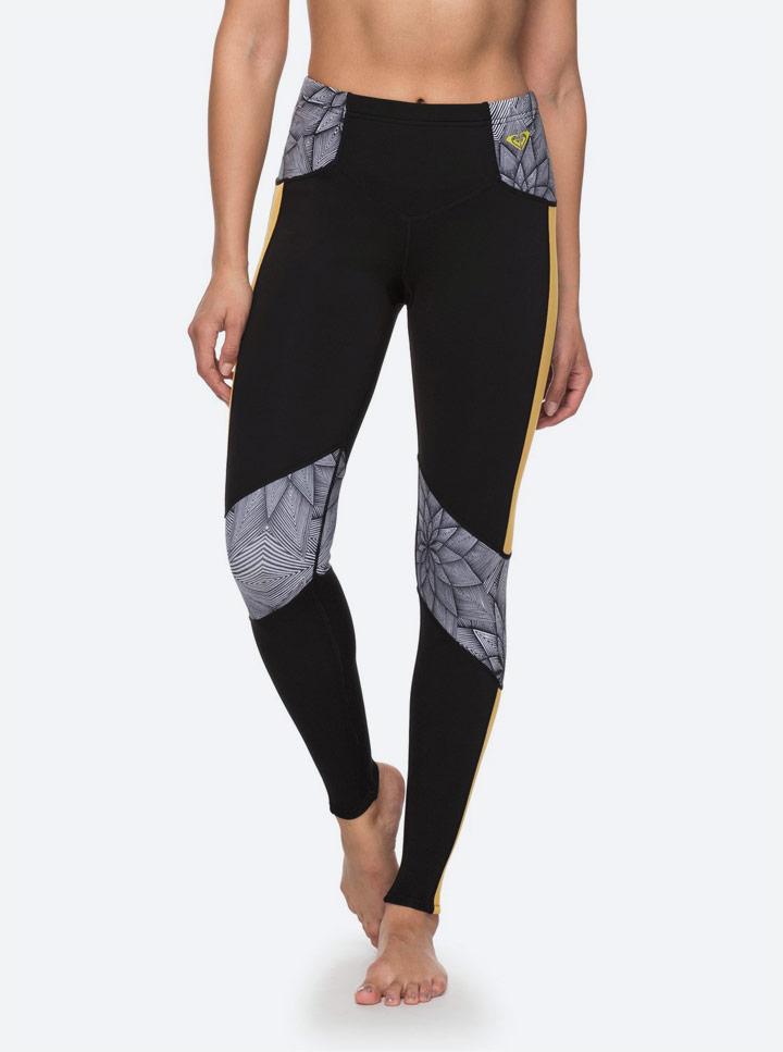 Roxy Pop Surf — neoprenové legíny — žluto-černé se vzorem — dámské — surfařské — swim leggins léto 2018