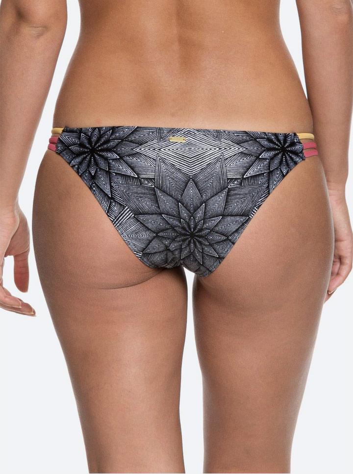 Roxy Pop Surf — plavkové kalhotky — černé s barevným vzorem — bikini bottom léto 2018