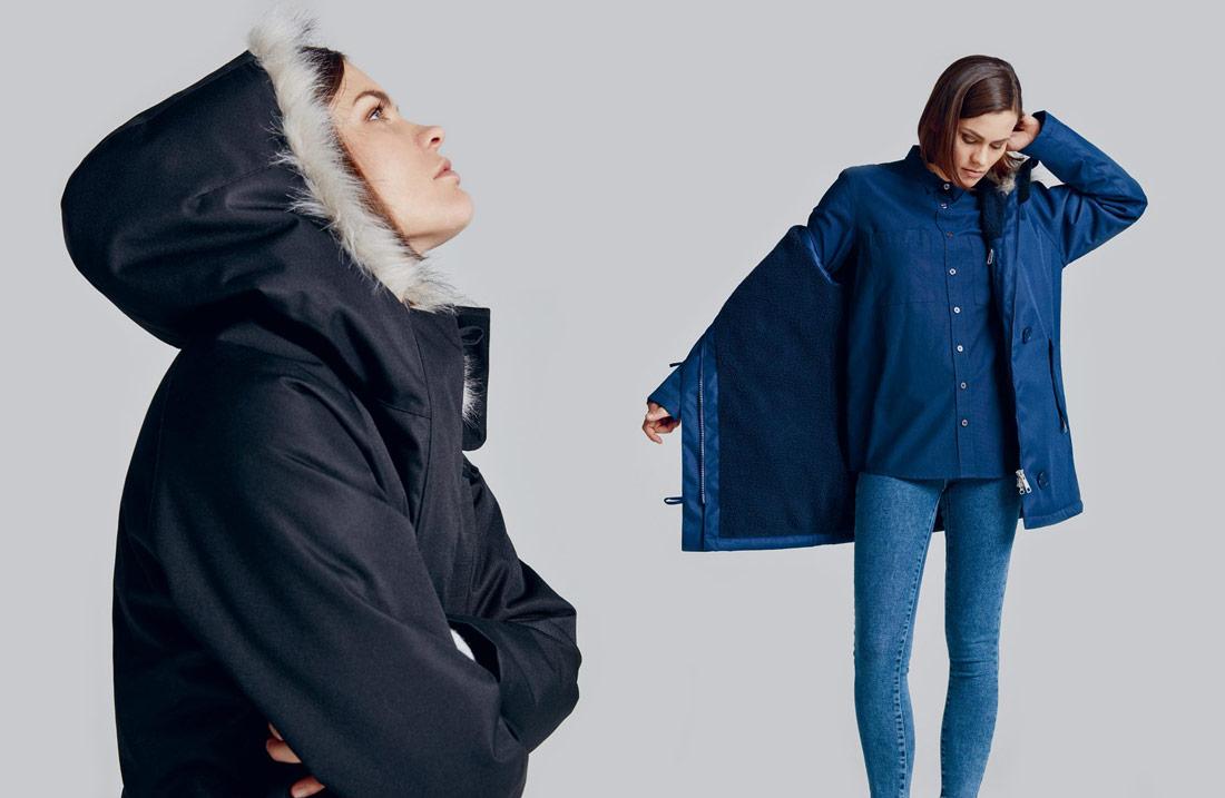 Makia — dámská černá zimní bunda s kapucí s kožíškem — modrá zimní bunda s kapucí s kožíškem — parka
