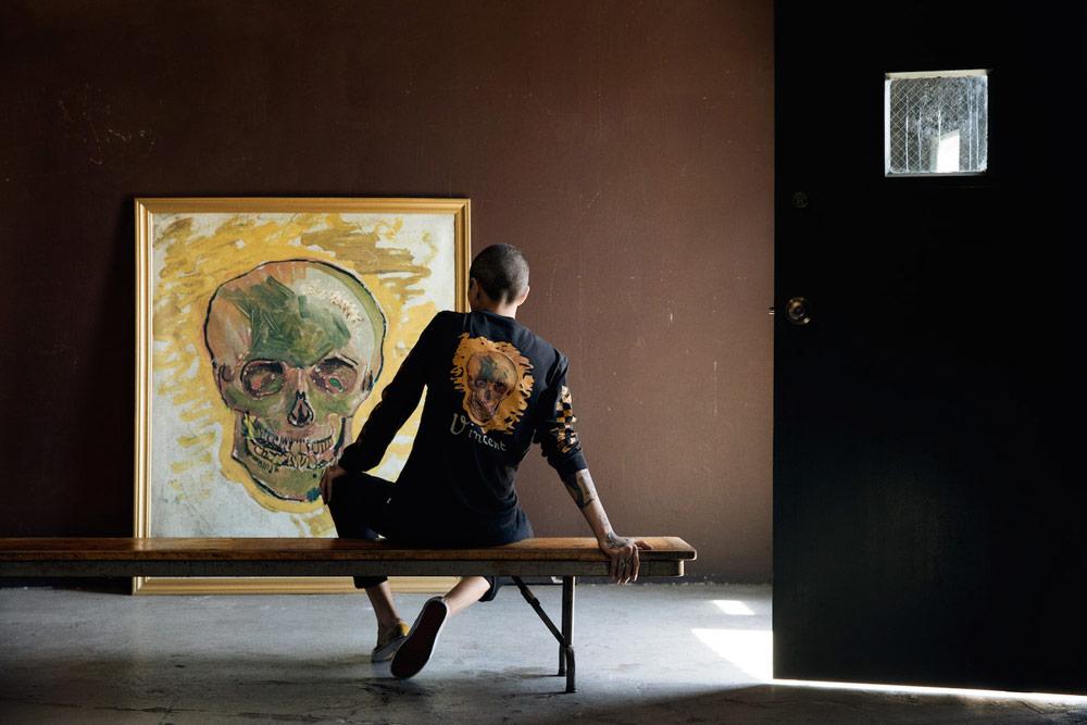 Vans x Van Gogh — černé tričko s dlouhým rukávem — Lebka