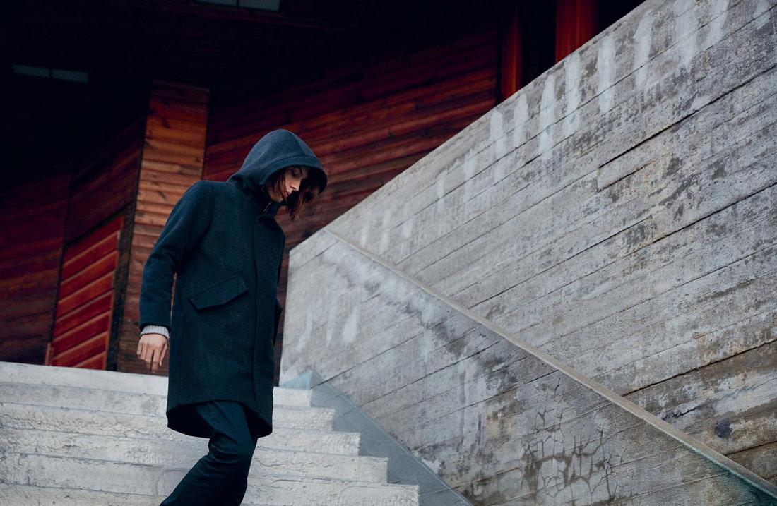 Makia — pánská černá vlněná zimní bunda s kapucí