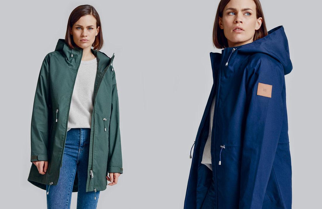 Makia — zelená dámská podzimní/zimní bunda s kapucí — modrá dámská podzimní/zimní bunda s kapucí — fishtail parka