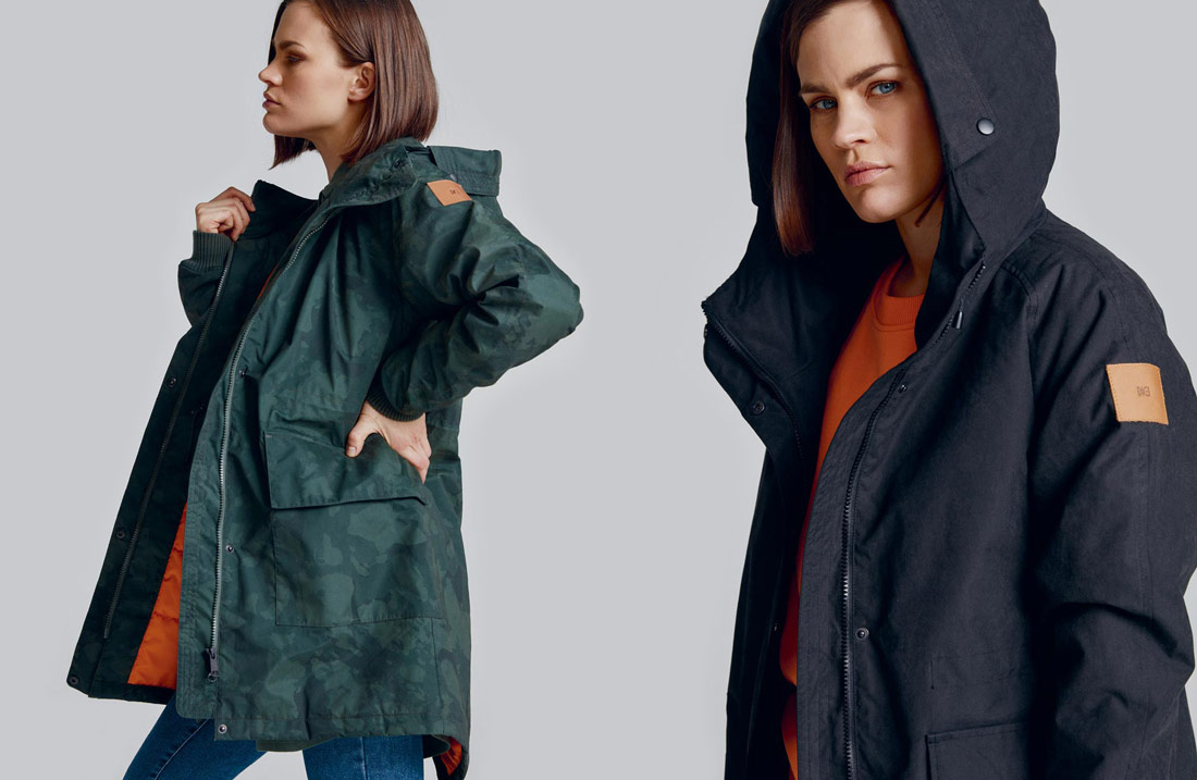 Makia — dámská maskáčová zelená podzimní/zimní bunda s kapucí — dámská černá podzimní/zimní bunda s kapucí — parka