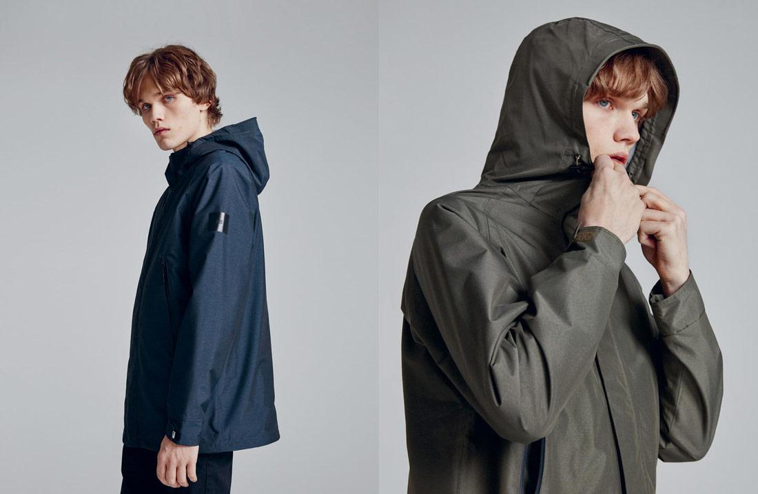 Makia — podzimní bunda s kapucí — pánská — modrá — hnědo-zelená