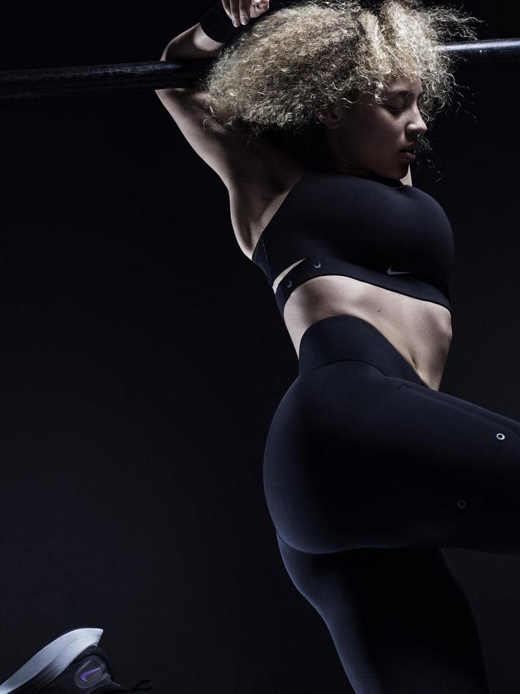 Nike — černá podprsenka Motion Adapt Bra — černé legíny — City Ready Collection