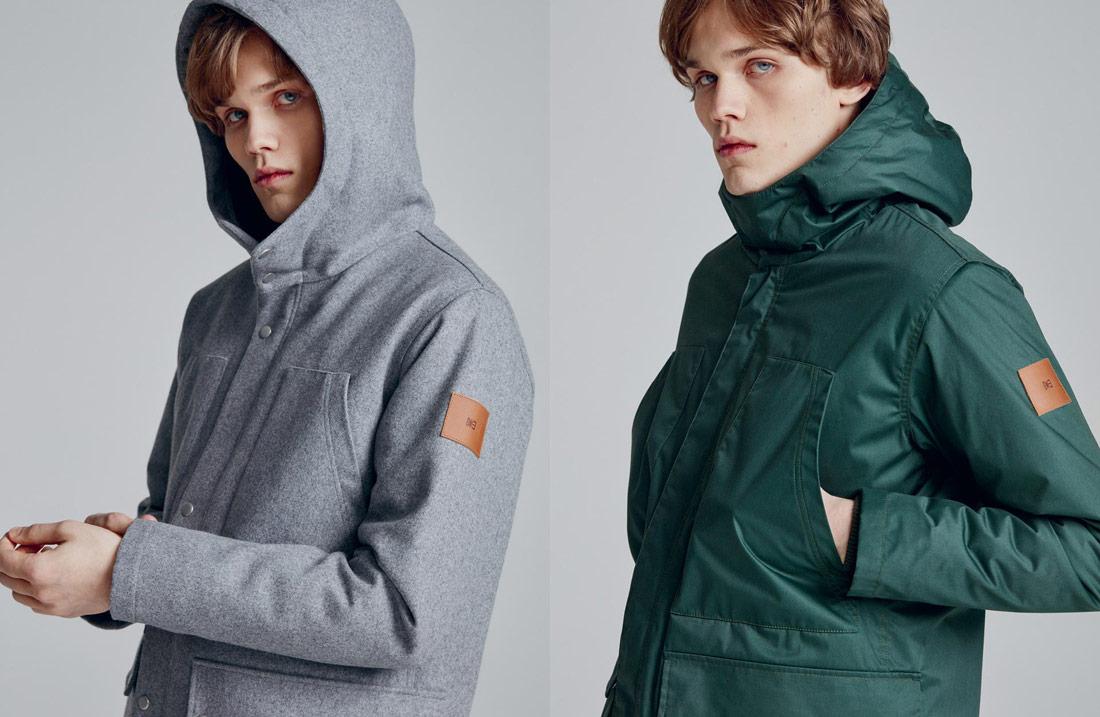 Makia — pánská šedá vlněná zimní bunda s kapucí — zelená pánská zimní bunda s kapucí