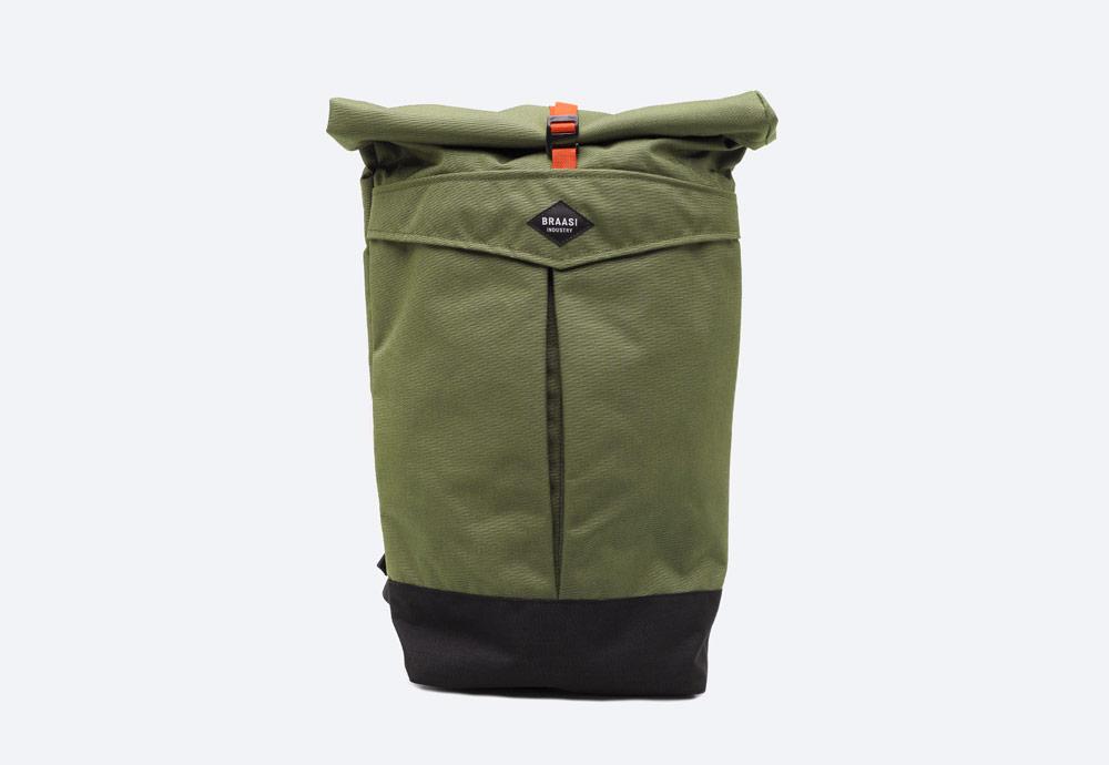 Braasi Industry — Levo — batoh — zelený, olivový — roll-top — rolovací vstup — urban, outdoor, městský