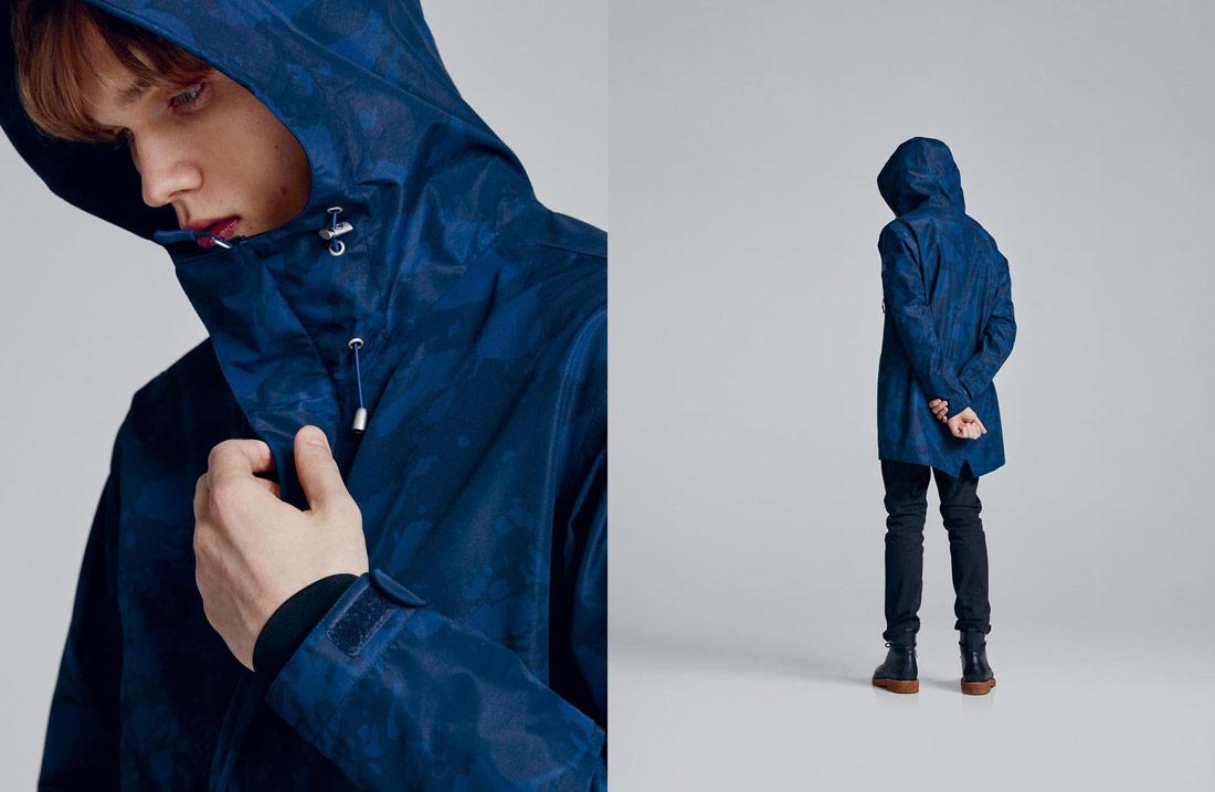Makia — maskáčová podzimní/zimní fishtail parka — bunda s kapucí — modrá
