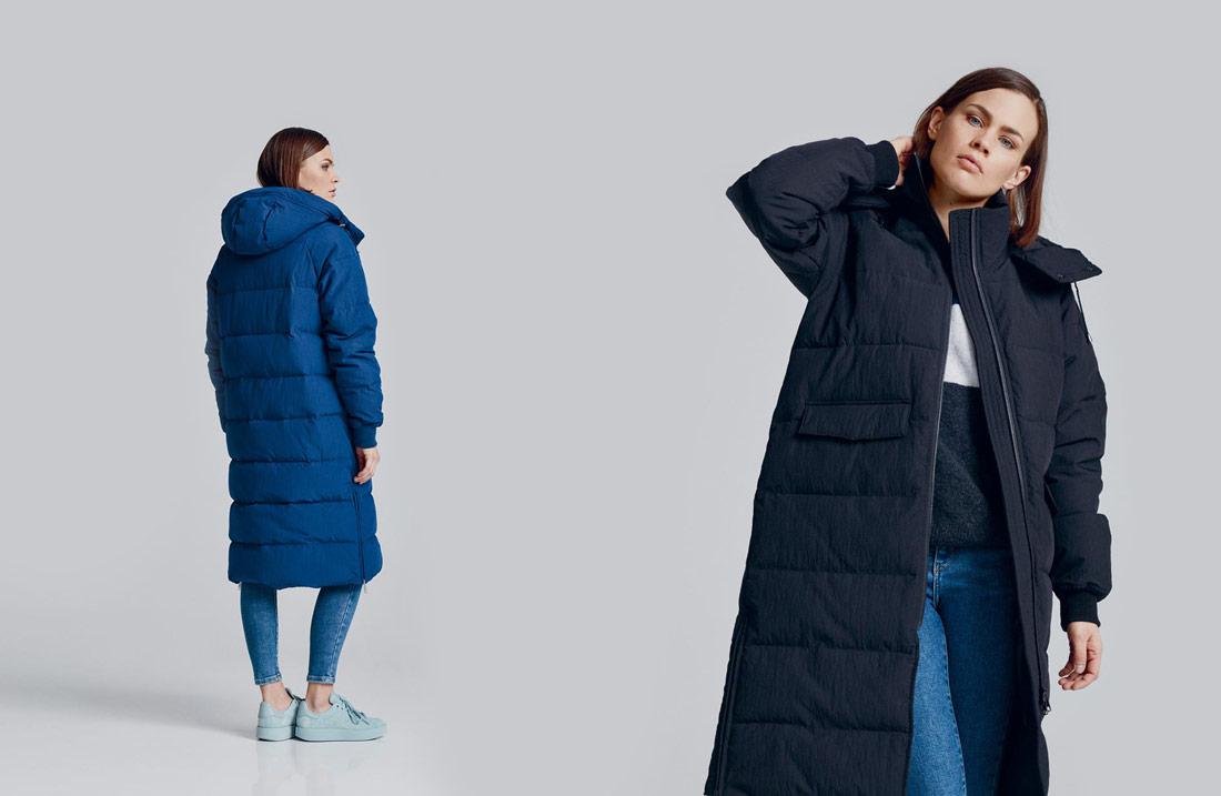 Makia — modrá zimní prošívaná bunda s kapucí — černá zimní prošívaná bunda s kapucí