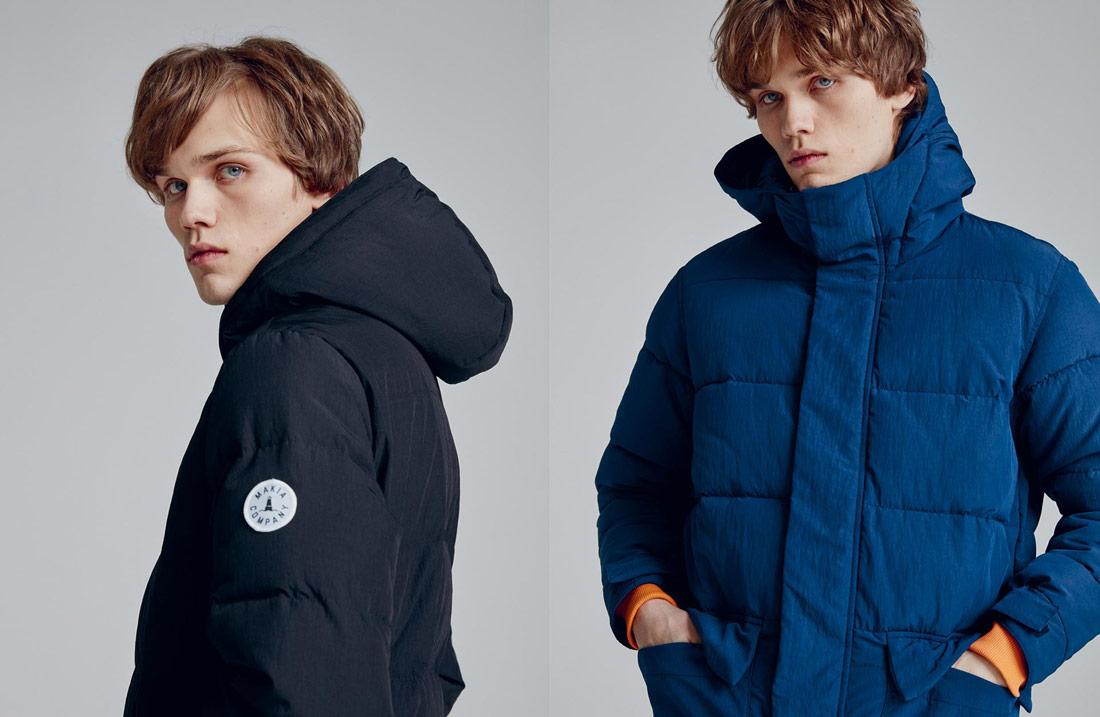 Makia — prošívaná zimní bunda — pánská — černá — modrá