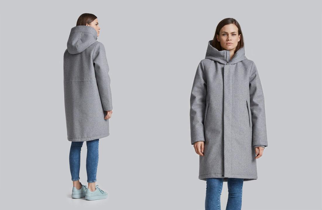 Makia — dámská vlněná zimní bunda s kapucí — šedá parka — kabát
