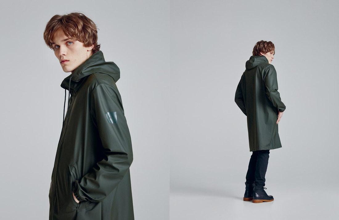Makia — pánská tmavě zelená nepromokavá bunda s kapucí — pršiplášť — pláštěnka — raincoat