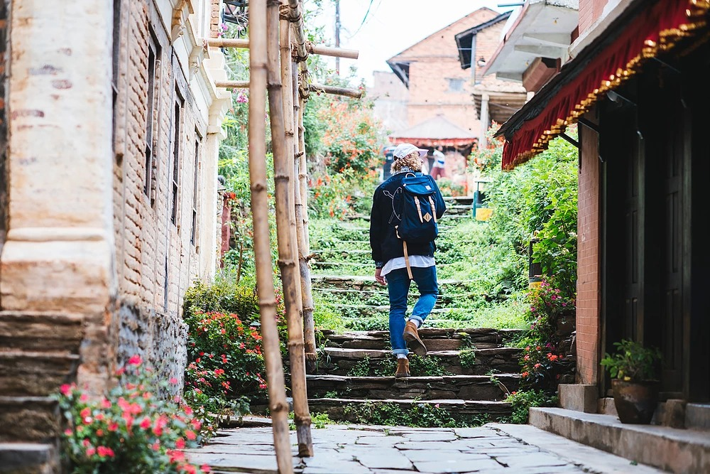 The Pack Society — modrý batoh s řemínky — podzim/zima 2018