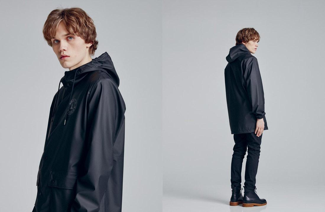 Makia — pánská černá nepromokavá bunda s kapucí — pršiplášť — pláštěnka — raincoat