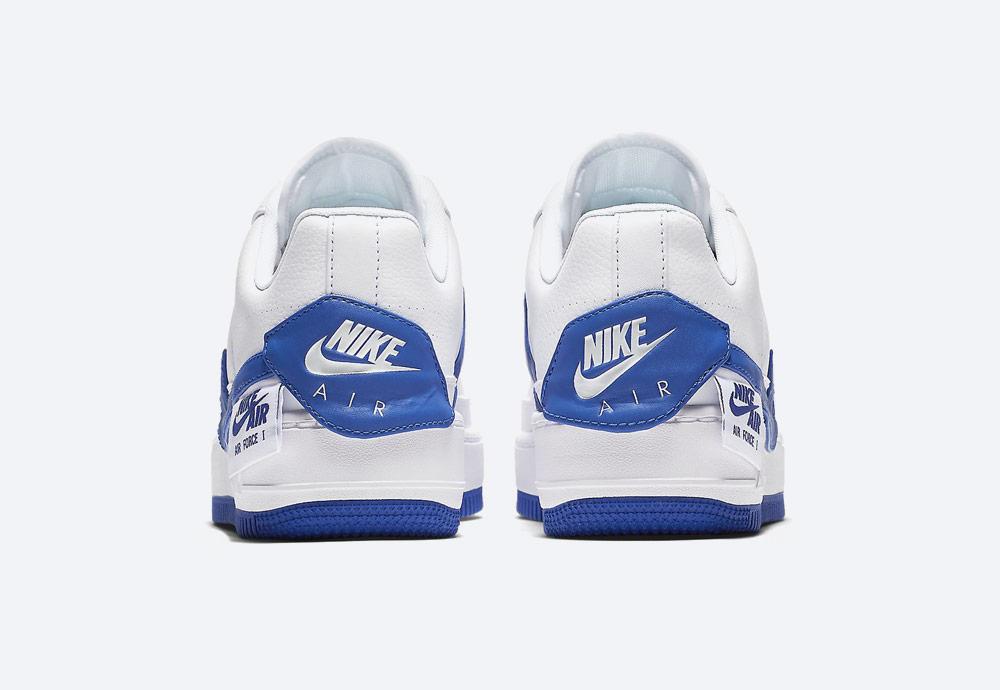 Nike Air Force 1 Jester XX — dámské boty — tenisky — sneakers — bílé, modré detaily — zadní pohled