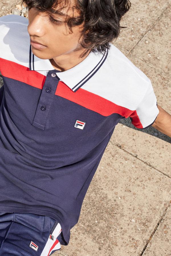Fila — pánské modré tričko s límečkem — polokošile — sportovní oblečení — podzim/zima 2018