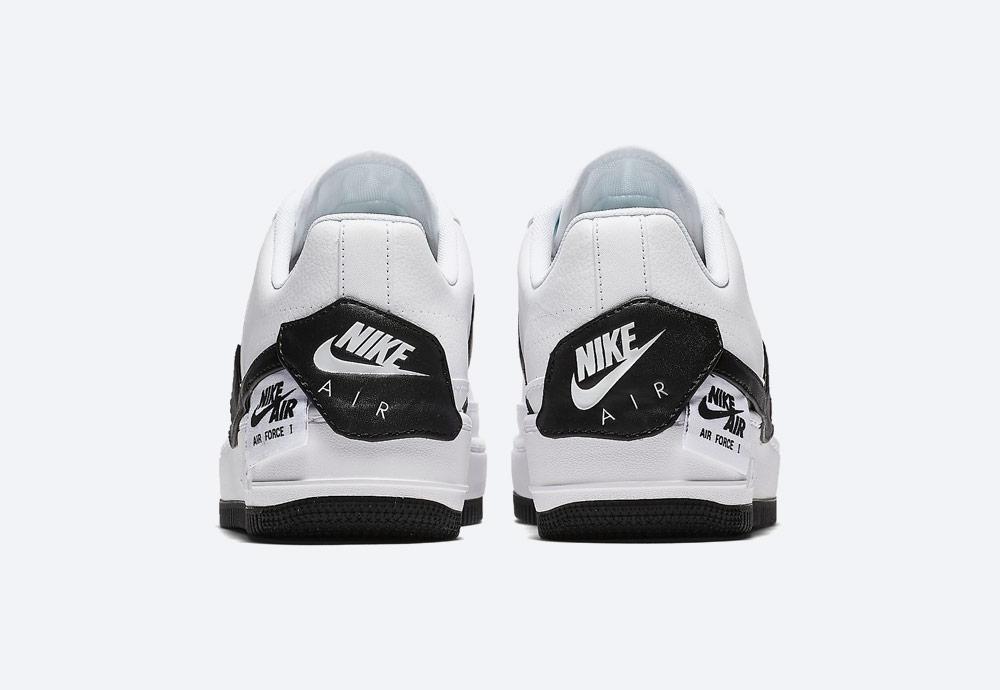 Nike Air Force 1 Jester XX — dámské boty — tenisky — sneakers — bílé, černé detaily — zadní pohled