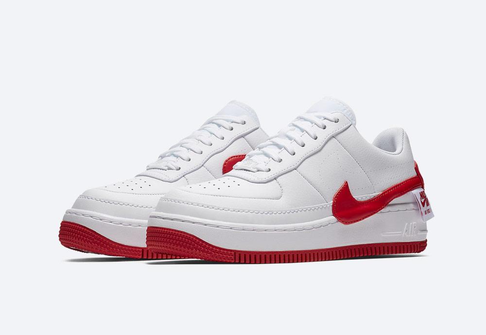 Nike Air Force 1 Jester XX — dámské sneakers — boty — tenisky — bílé, červené detaily
