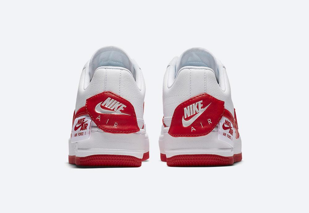 Nike Air Force 1 Jester XX — dámské boty — tenisky — sneakers — bílé, červené detaily — zadní pohled
