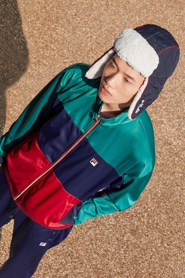 Fila — lesklá tepláková bunda — červeno-modro-zelená — beranice — sportovní oblečení — podzim/zima 2018