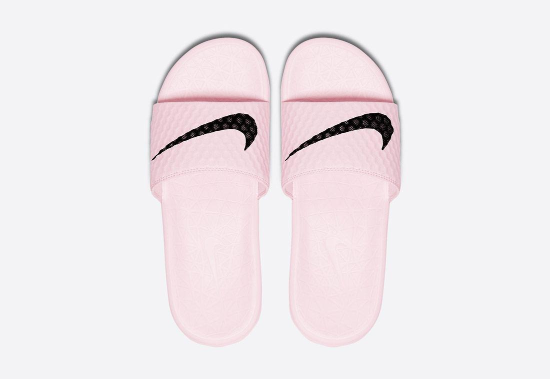Nike Benassi Solarsoft 2 — letní dámské pantofle, nazouváky — růžové