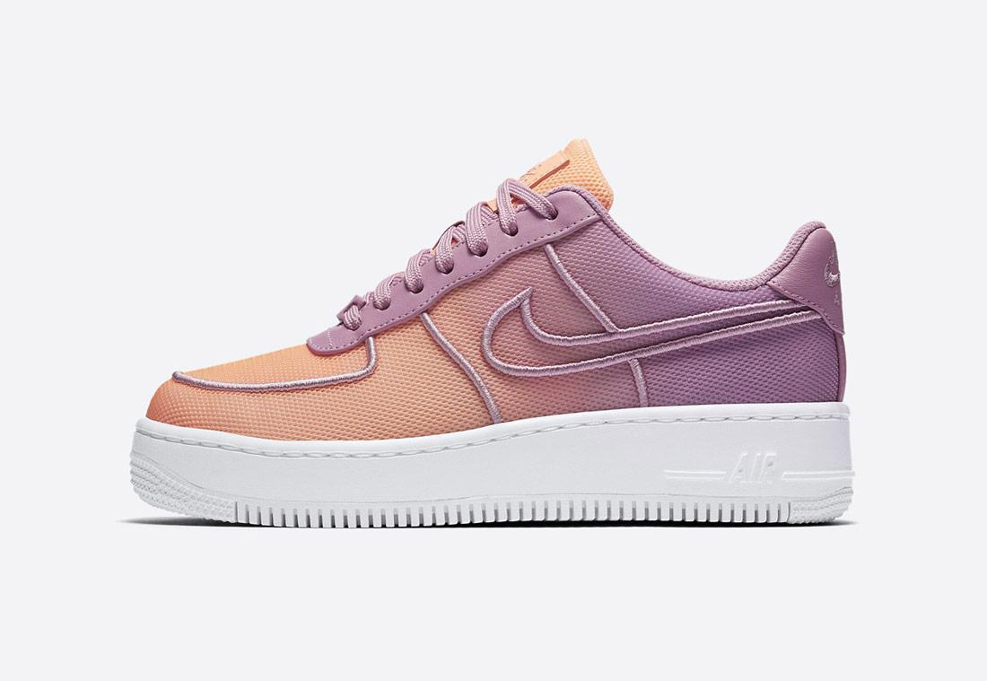 Nike Air Force 1 Low Upstep BR — tenisky na platformě — dámské — boty — meruňkové, oranžovo-fialové