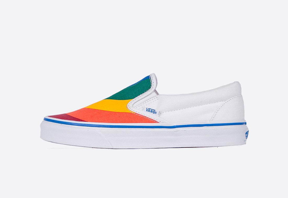 Vans Classic Slip-On Rainbow – dámské tenisky – bílé/barevné