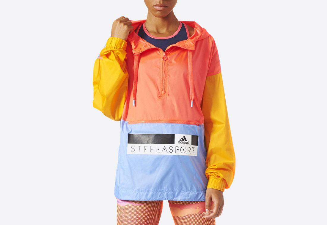 Dámská bunda (pullover) adidas STELLASPORT Throw-On – oranžovo-růžová, žlutá, modrá