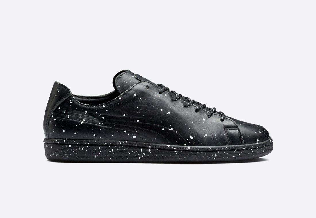 Puma x Daily Paper — pánské tenisky — nízké — boty — Match Splatter Black — sneakers — černé s bílými skvrnami