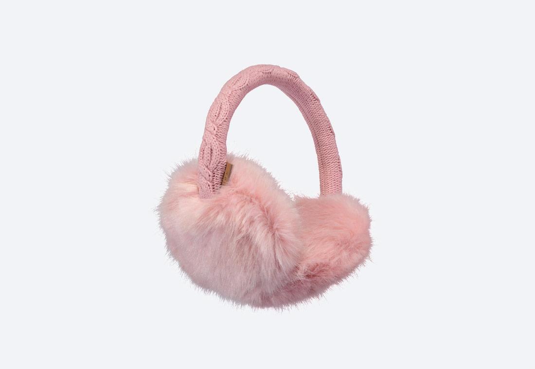 Fur Earmuffs — zimní klapky na uši — dámské — kožešinové, chlupaté — růžové
