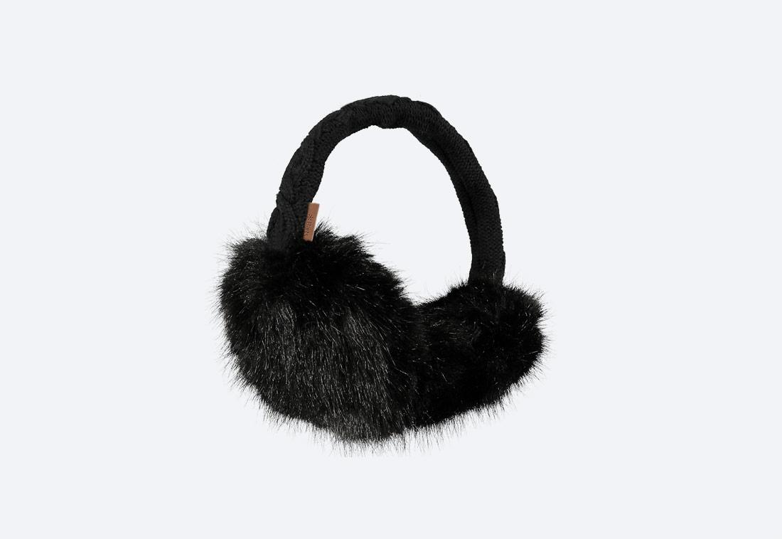 Fur Earmuffs — zimní klapky na uši — dámské — kožešinové, chlupaté — černé