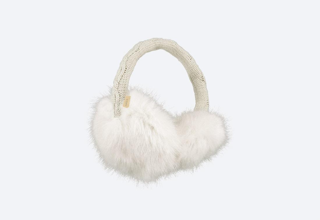 Fur Earmuffs — zimní klapky na uši — dámské — kožešinové, chlupaté — bílé