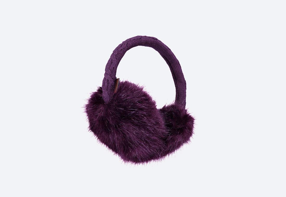 Fur Earmuffs — zimní klapky na uši — dámské — kožešinové, chlupaté — fialové