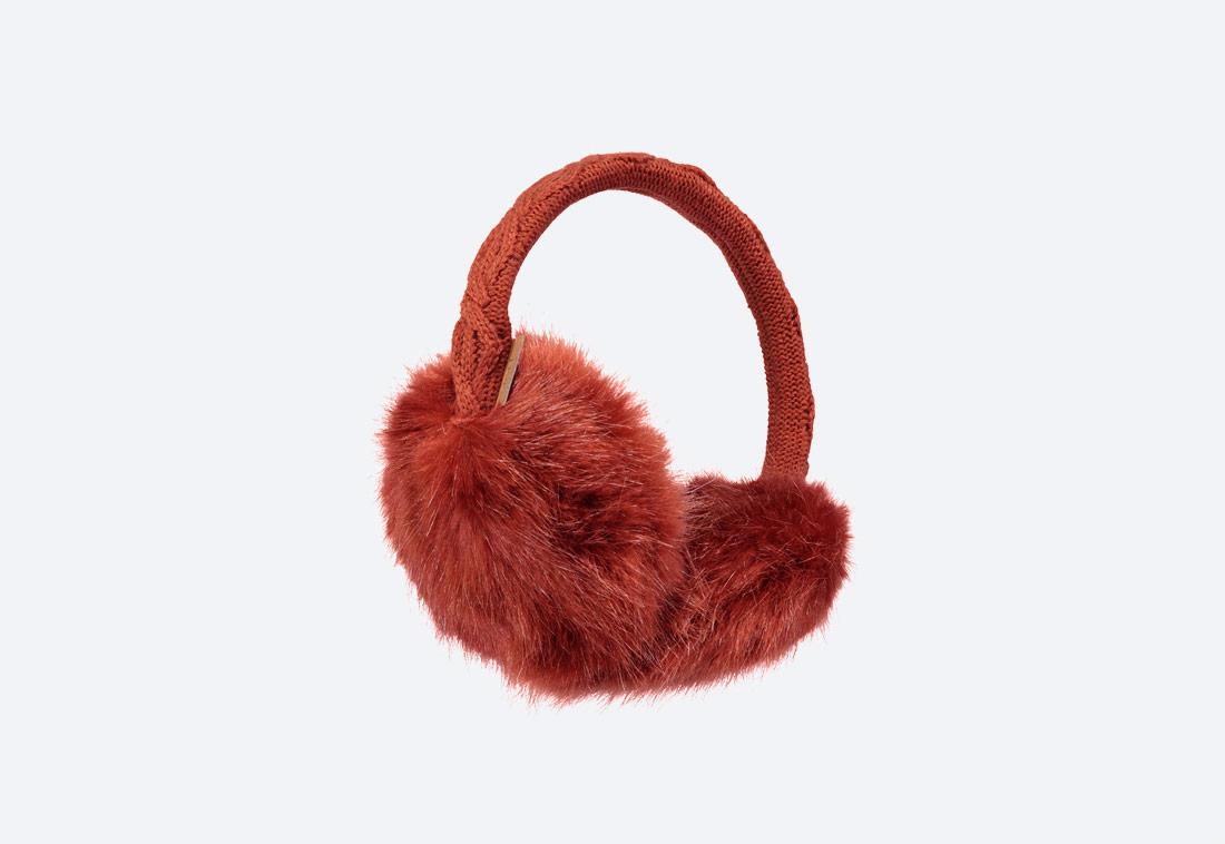 Fur Earmuffs — zimní klapky na uši — dámské — kožešinové, chlupaté — červené