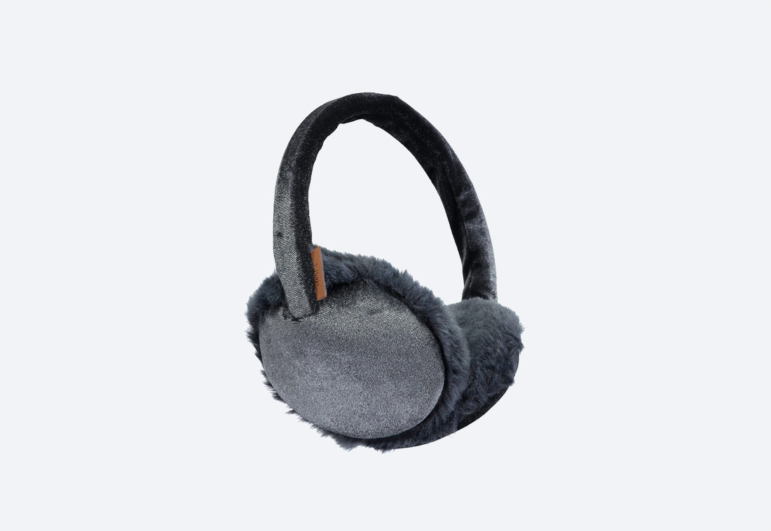 Velva Earmuffs — zimní klapky na uši — dámské — plyšové — tmavě šedé