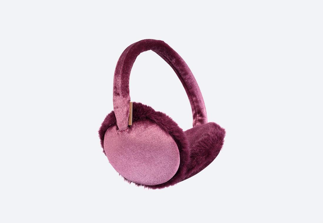 Velva Earmuffs — zimní klapky na uši — dámské — plyšové — bordó, růžové