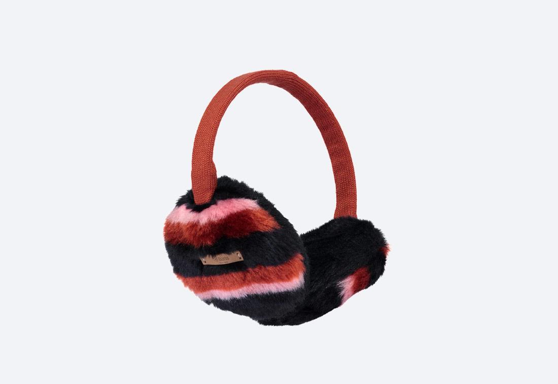 Nella Earmuffs — zimní klapky na uši — dámské — kožešinové, chlupaté — černé, červené